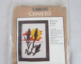 Wheat in Sunset Crewel Kit 5 x 7 Caron #6351