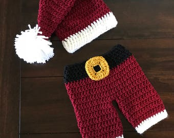 Crocheted Santa Outfit for Newborn