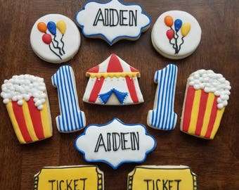 Circus Sugar Cookies, Circus first birthday, carnival sugar cookies, big top birthday