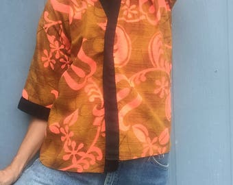 Vintage Hawaiian Barkcloth Kimono