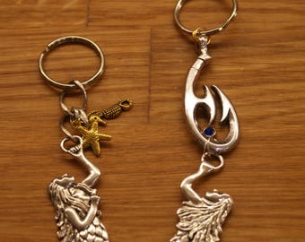 mermaid keyrings key charms with gems and charms