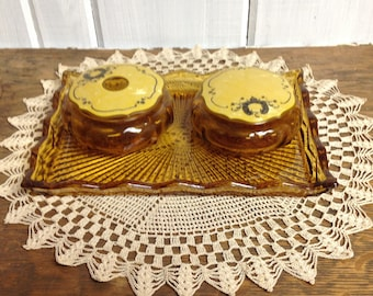 Vintage vanity tray with covered bowls