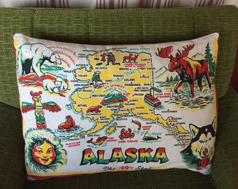 Vintage State of Alaska Pillow Cover