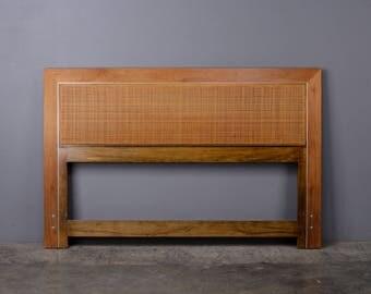 Paul McCobb Queen Size Headboard Walnut & Cane Mid Century Bed