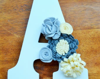 Floral Wall Letter- Felt Flower Letter- Nursery Letter- Wall Letters for Nursery- Wall Letter Decor- Nursery Wall Decor