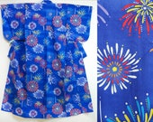 Blue Yukata with firework...