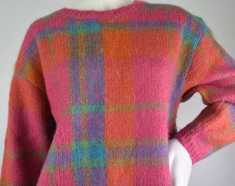 Vintage Womens Plaid Mohair Wool Retro Sweater M