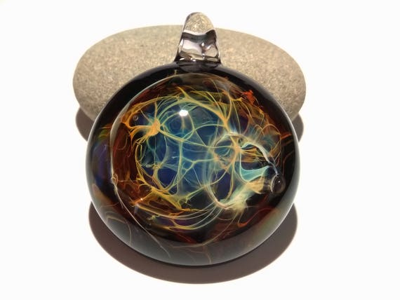 Web Of Life Pendant - Glass Art Pendant - Borosilicate - Blown glass jewelry made with pure silver - Free Shipping!