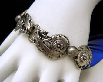 Vintage Napier Silver Tone Bracelet Nouveau Style Links