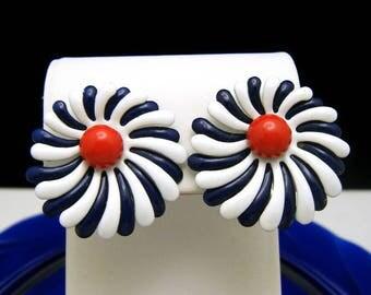 Vintage Enamel Earrings Patriotic Red White Blue Clip Ons