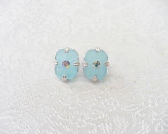 Authentic Vintage Art Deco Aqua Blue Camphor Glass/Aurora Borealis Rhinestone Earrings - sterling silver metal - Pierced post- GATSBY gift