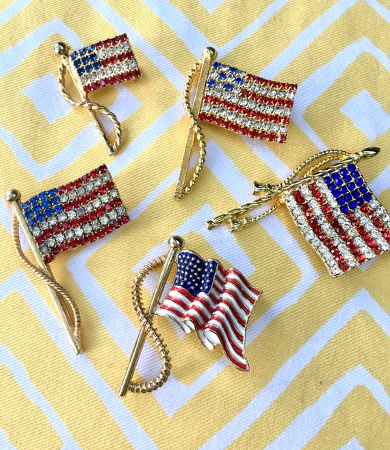 Five Vintage American Flag Brooch Pins for your July 4th Holiday entertaining