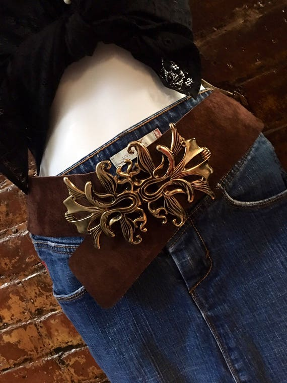 Gorgeous Boho Art Nouveau Golden Flower Buckle Wide Brown Suede Leather Adjustable Belt to die for