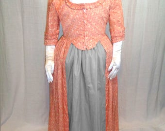 18th Century Lady's Pink Calico Print Gown