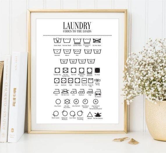 Guide To Laundry Poster Laundry Guide Wash Symbols Print Clothes Care Sign Ironing