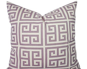 15% OFF SALE Two Purple Pillow Covers - Decorative Pillow Cover - Purple Throw Pillow - Lavender Pillow - Greek Key Pillow - Dorm Decor