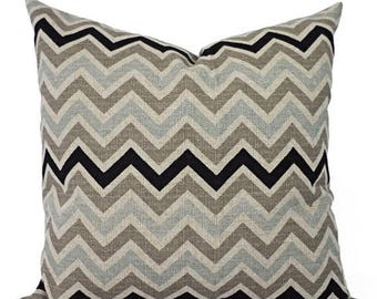 15% OFF SALE Two Chevron Couch Pillow Covers - Black and Brown Chevron Pillows - Burlap Decorative Throw Pillow Cushion Cover Accent Pillow
