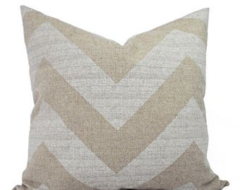 15% OFF SALE Two Chevron Couch Pillow Covers - Cream and White Pillows - Decorative Throw Pillow - Rustic Pillow Cover - Accent Pillow