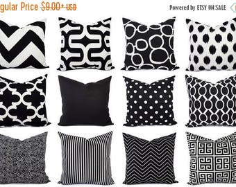 15% OFF SALE Black and White Pillow Cover - Modern Black Throw Pillow Cover - Black Euro Sham - Decorative Pillow Cushion Cover Accent Pillo
