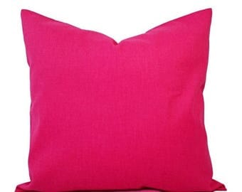 15% OFF SALE Two Solid Pink Pillow Covers - Hot Pink Couch Pillow Covers - Pillow Covers - Hot Pink Toss Pillow - Decorative Pillow - Solid