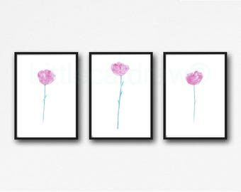 Flower Print Wall Art Set Of 3 Watercolor Painting Pink Peony Art Print Watercolor Print Nature Peonies Print Living Room Wall Decor