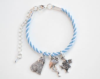 Alice In Wonderland Book Disney Inspired Friendship and Charm Bracelet