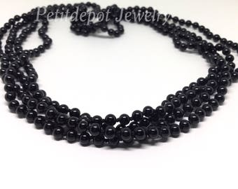 Long Black Bead Necklace Black Onyx Natural Stone Necklace Long Black Onyx Necklace Boho Jewelry 71 inches long 4mm beads