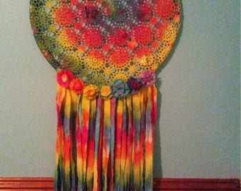 Rainbow tie dyed lace dream catcher