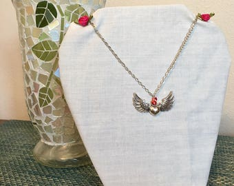 Antique Silver Angel Wing Heart Necklace