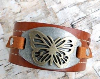 Butterfly, Leather Cuff Bracelet, Upcycled Belt, Repurposed, Distressed Black Leather, Tooled Leather, Rhinestones, LookSomethingShiny