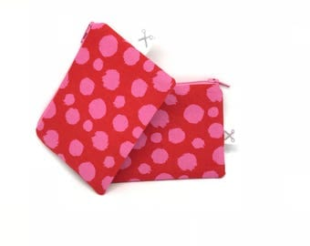 Mini zipper pouch Fur Ball red/pink