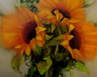 Original OIL Painting by CES - Big Sunflowers Still Life Impressionism Floral Garden Impressionistic Flowers Yellow Orange ART 24x24 Canada