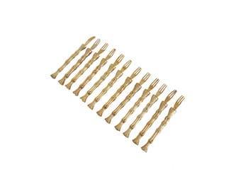 Vintage Gold Plated Bamboo Hors D'oeuvre Appetizer Forks Picks Set of 12