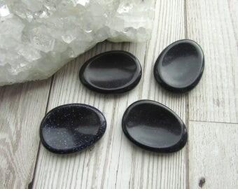 Blue Goldstone Worry Stone - Natural Thumb Stone - Gemstone Smooth Palm Stone - Comfort Stone Blue