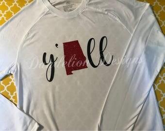 Alabama Y'all Crimson Tide Shirt Glitter Roll Tide women's Long Sleeve