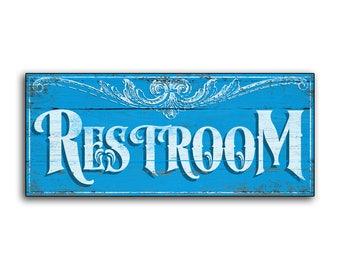 Great Restroom Wood Sign Mens Room Restrooms Wooden Handmade Bathroom Water Closet  Decor Cottage Wall Restaurant Diner