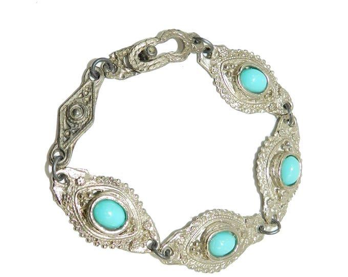 Antique BOHO Turquoise Silver Link Bracelet, Jerusalem, Israel, Boho Jewelry, Gift Idea, Vintage Jewelry Jewellery, Spring Trend
