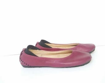 Cherry red leather ballerina flat shoes custom made