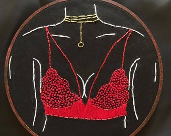 Red Bralette Hand Embroidery Hoop