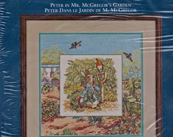 Needle Treasures #03072, Borderlines cross stitch kit, Peter In Mr. McGregor's Garden, unopened counted cross stitch kit, home decor, gift