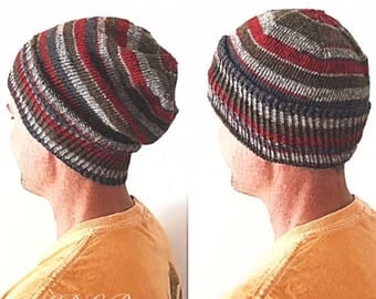 PATTERN: CJ Slouchy Beanie Knitting Pattern, Beginner Beanie Knit, Slouchy Hat Knitting Pattern, Mountain Man Hipster Slouch Hat, Men's Hat