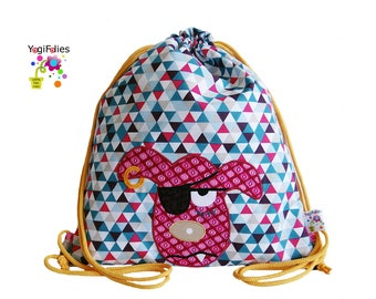 Backpack, children backpack, fabric backpack, dog, pirate, triangles