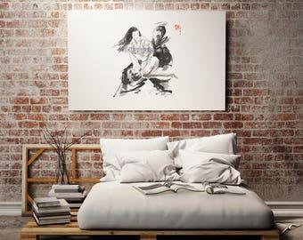 Aikido Poster, Kote Gaeshi, Full Contact, Morihei Ueshiba, Japanese Martial Art, Mens Gift, Calligraphy Painting, Minimalist Artwork