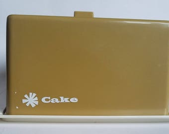 Vintage Cake Carrier  |  Square Plastic Cake Carrier  |  Retro Cake Caddy  |  Mustard Yellow Tote  |  Yellow Kitchen Canister  |  Festival