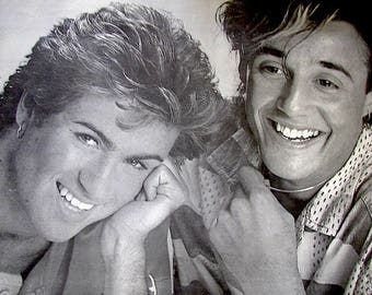 Previously Loved WHAM Poster. George Michael and Andrew Ridgely. Black and White. 22 Inches Wide x 17 Inches High.