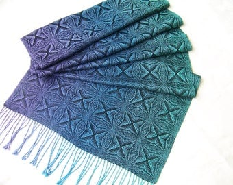 Handwoven Swedish Snowflake Shawl Scarf Wrap Stole hand woven