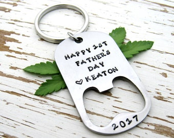 Happy 1st Father's Day key chain - bottle opener - beer bottle opener - personalized - gifts from kids - new dad - stamped metal - keyring
