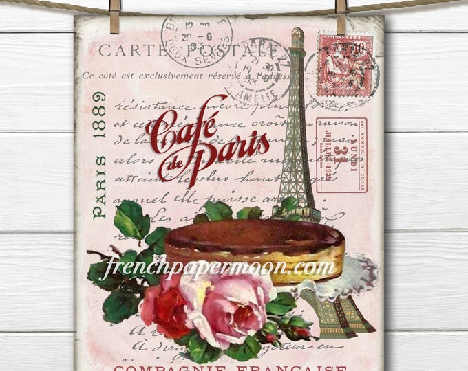 Shabby Digital Teatime in Paris, Eiffel Tower, Cake, Roses, French Graphics, cafe de paris, home decor, DIY
