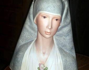 One of 300 - Laslo Ispanky Lmtd. Ed.  Madonna Virgin Mary Porcelain Bust Statue -