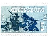 10 Unused Gettysburg Postage Stamps // 1963 Vintage 5 Cent Civil War Postage Stamps for Mailing